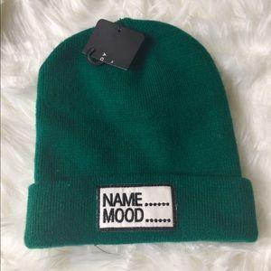 Zara Green Name Mood Cable Knit Beanie